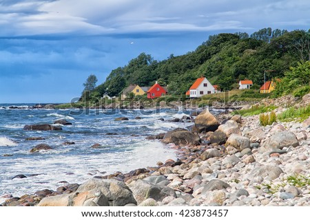 View of a typical danish houses on Bornholm, near Hasle and Jons Kappel. Denmark - stock photo