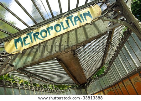 View of a typical metropolitain sign board in Paris. - stock photo