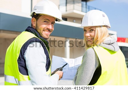 View of a Worker and enginner checking last details before delivery  - stock photo