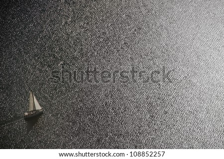 View of a yacht from the top - stock photo