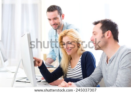 View of a Young attractive people taking a training course - stock photo