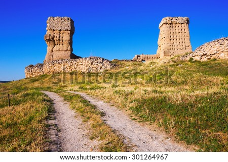 View of  abandoned castle of Palenzuela.  Castile and Leon, Spain - stock photo