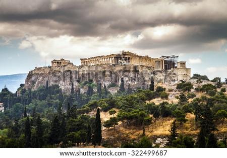View of Acropolis on a rainy day, Parthenon, Athens, Greece - stock photo