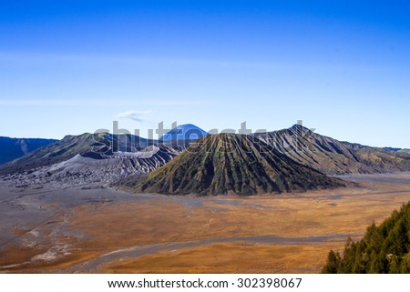View of Active Volcano In East Java Indonesia - stock photo