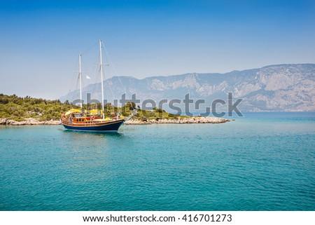 View of Aegean Sea near Marmaris, Turkey - stock photo