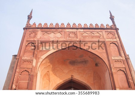 View of Agra Fort archway - stock photo