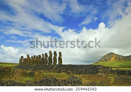 View of Ahu Tongariki on the back side - stock photo