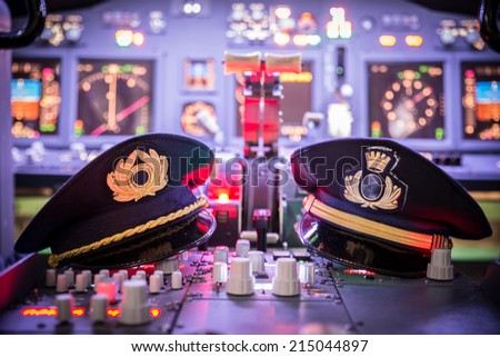 View of airplane cockpit  - stock photo