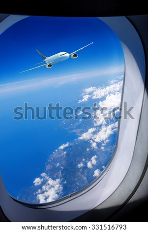 View of Airplane in the sky - stock photo