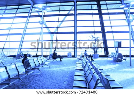 view of airport terminal seat - stock photo