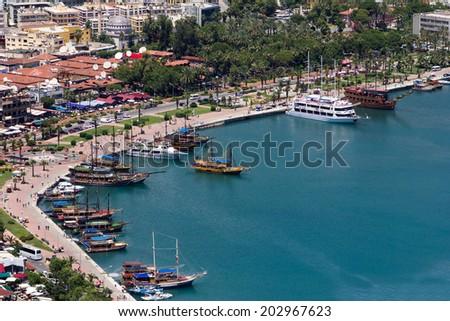 View of Alanya port and sea coast. Turkey.  - stock photo