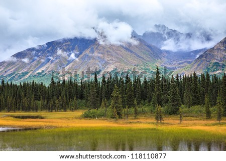 View of Alaskan Mountain Range in Denali National Park, Alaska - stock photo
