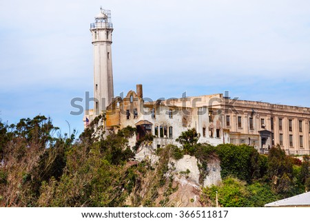 View of Alcatraz buildings and lighthouse - stock photo