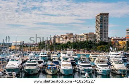 View of Alicante skyline and seaport. Costa Blanca, Spain - stock photo