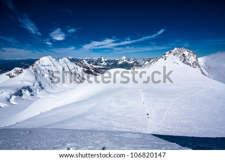 View of alpine summits (Lyskamm, Monte Rosa; over 4000 m) - stock photo