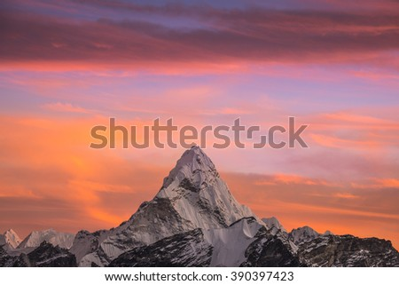 View of Ama Dablam mountain in the Himalayas from Kalar Patthar summit - stock photo