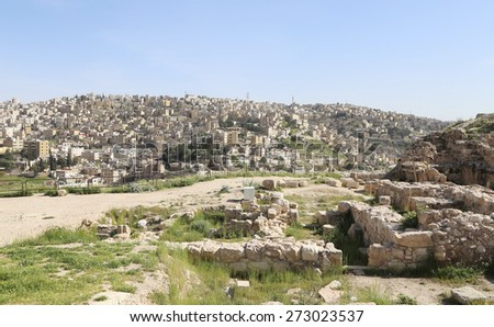 view of Amman's skyline, Jordan, Middle East  - stock photo