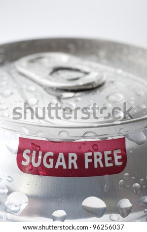 view of an aluminum can of sugar free soda - stock photo