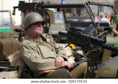 View of an American veteran during the sunny day. - stock photo