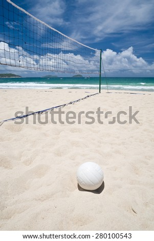 View of an empty beach volleyball court on a sunny day - stock photo