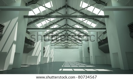view of an empty or abandonned factory - stock photo