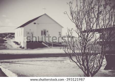 View of an old church in an outport community in Newfoundland, Canada - stock photo