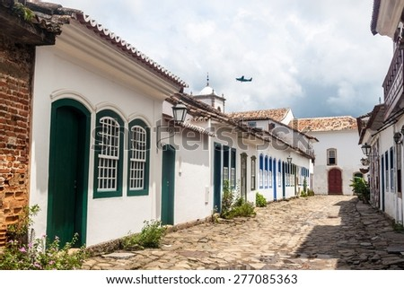 View of an old colonial town Paraty, Brazil - stock photo