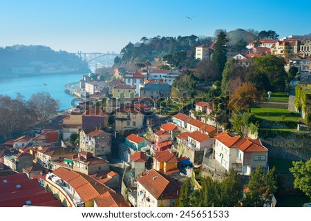 View of an Old Town of Porto in the sunny day. Portugal - stock photo