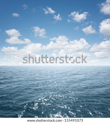 View of an open sea with copy space - stock photo