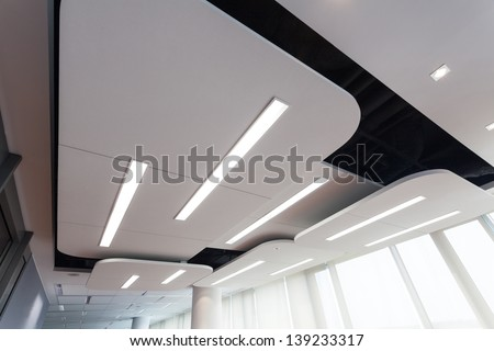 View of an original futuristic ceiling with lighting - stock photo