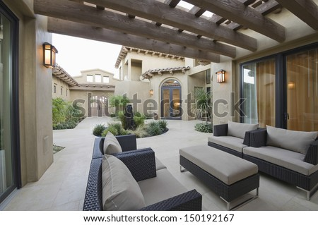 View of an outdoor room of a modern home - stock photo