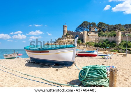 View of ancient fortress and beach in Tossa de mar. Costa Brava, Catalonia, Spain - stock photo
