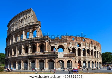 View of ancient rome coliseum ruins. Italy. Rome. - stock photo