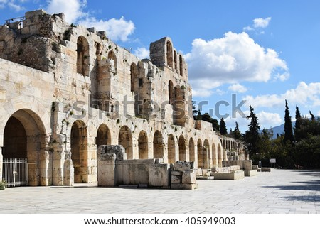 View of ancient theater under Acropolis in Athens. - stock photo