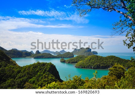 View of Ang Thong National Marine Park near Samui island, Thailand - stock photo