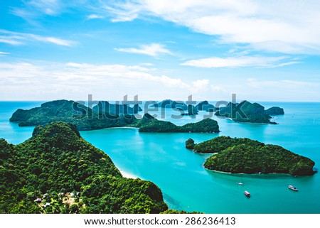 View of Ang Thong National Marine Park, Thailand,Seascape background, - stock photo