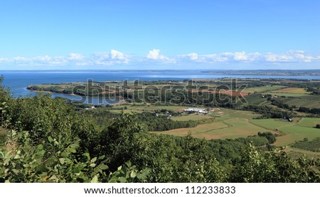 View of Annapolis Valley and the Bay of Fundy from The Lookoff on North Mountain, Nova Scotia, Canada. - stock photo