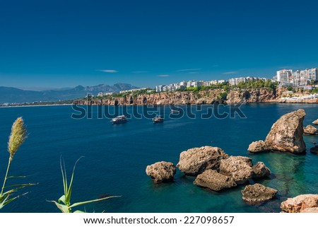 View of Antalya, Mediterranean sea and seaside, Turkey, 2014 - stock photo