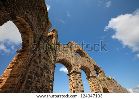 View of aqueduct ruins near Antalya Turkey - stock photo