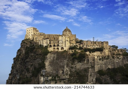 View of Aragonese Castle from the ancient suburb of Celsa, today Ischia Ponte  - stock photo