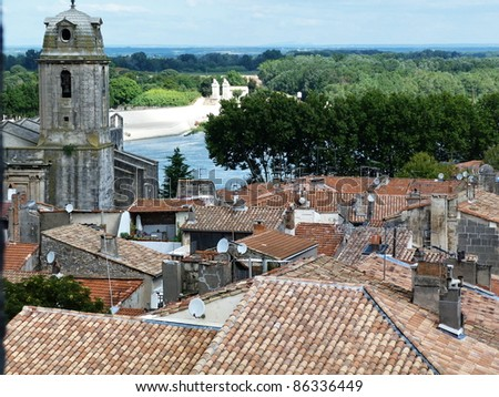 View of Arles from the amphitheater - stock photo