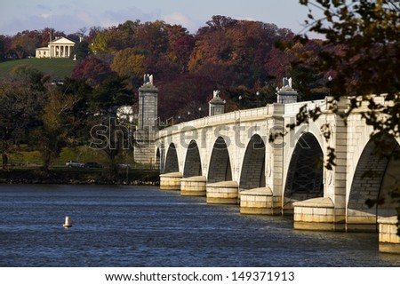 view of Arlington Memorial Bridge in Washington, DC, USA. - stock photo