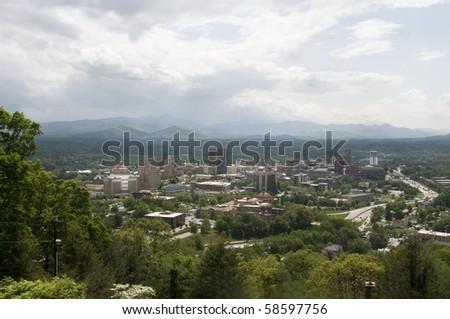 View of Asheville, North Carolina on a beautiful day - stock photo