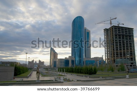 View of Astana to construction of modern buildings - stock photo