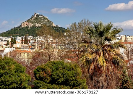 View of Athens and Mount Lycabettus - stock photo