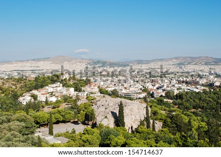 View of Athens roofs and Areipagus hill from Acropolis,Greece - stock photo