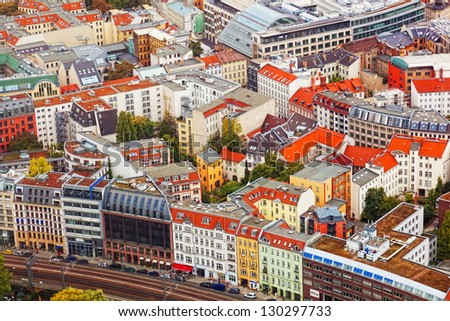 View of autumn Berlin from an observation deck - stock photo