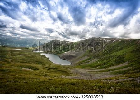 View of Ayryksky lakes, Altai, Russia - stock photo