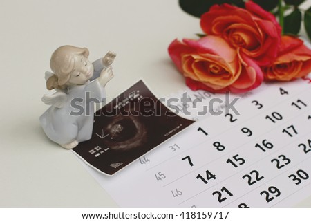 View of  baby ultrasound scan/photo on the calendar with an angel and  roses - stock photo