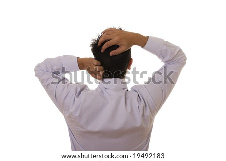 View of back businessman with his hand on the head - stock photo